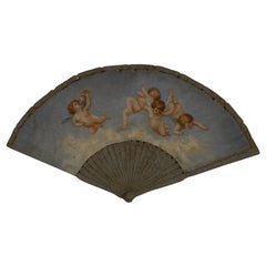 Large 19th Century French Decorative Fan with Chubby Angels on Blue Sky