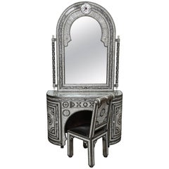 Superb Three Pieces Moroccan Bone and Ink Vanity