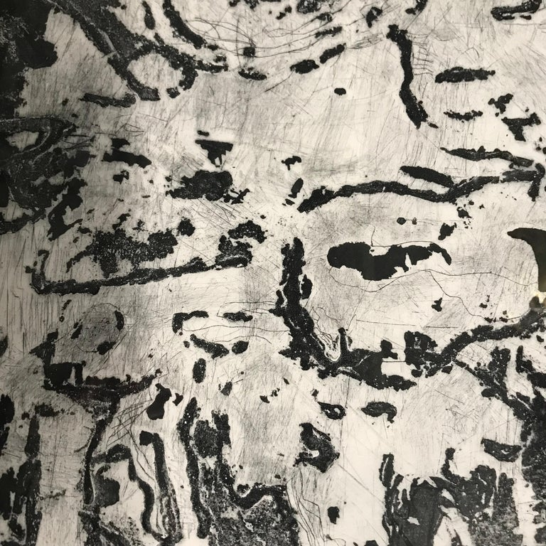 Contemporary abstract carborundum print over dry point monoprint by American artist Sandra Constantine. Matted and in a black wood frame. The artist, born in 1971, lives, works and has exhibited in New York City. She focuses on collage, combining