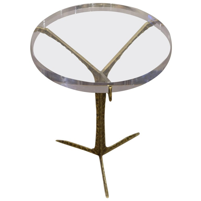 Acrylic Top Cocktail Table with Hammered Brass Base, Portugal, Contemporary For Sale