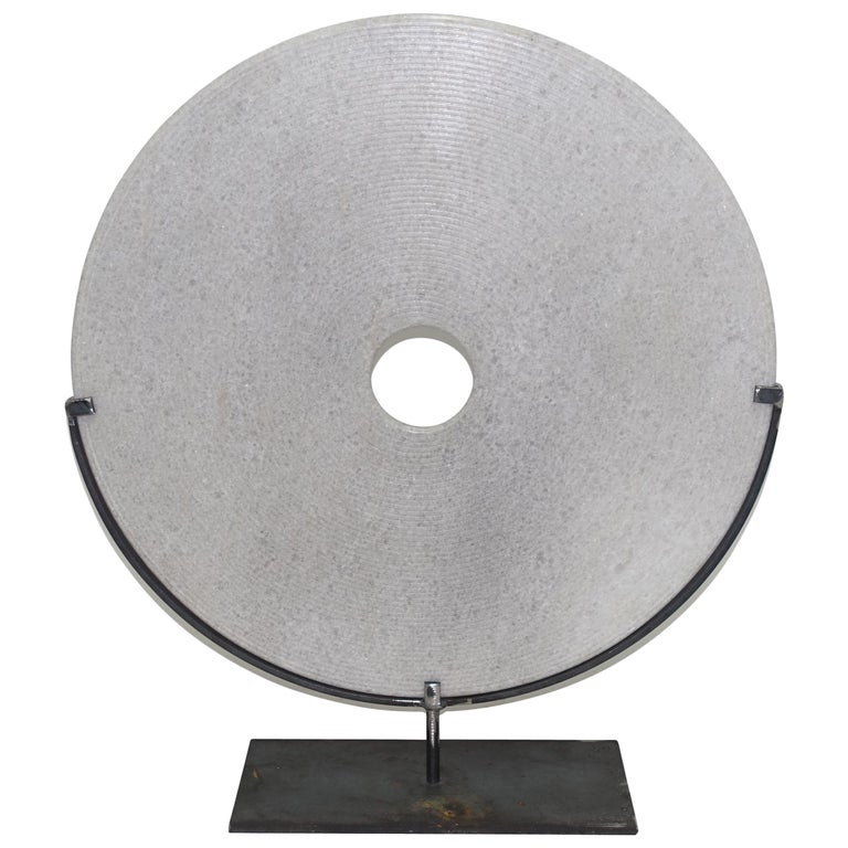 Extra Large Ribbed White Stone Disc Sculpture, China, Contemporary For Sale