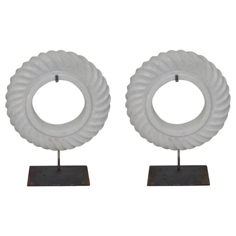 Pair of White Stone Rope Twist Disc Sculptures, China, Contemporary