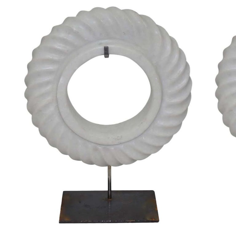 Chinese Pair of White Stone Rope Twist Disc Sculptures, China, Contemporary For Sale