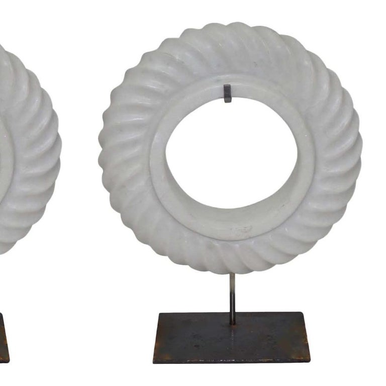 Pair of White Stone Rope Twist Disc Sculptures, China, Contemporary In New Condition For Sale In New York, NY