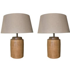 Contemporary Pair of Porcelain Lamps, Gold Basket Weave Design, China