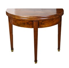 19th Century French Walnut Demilune