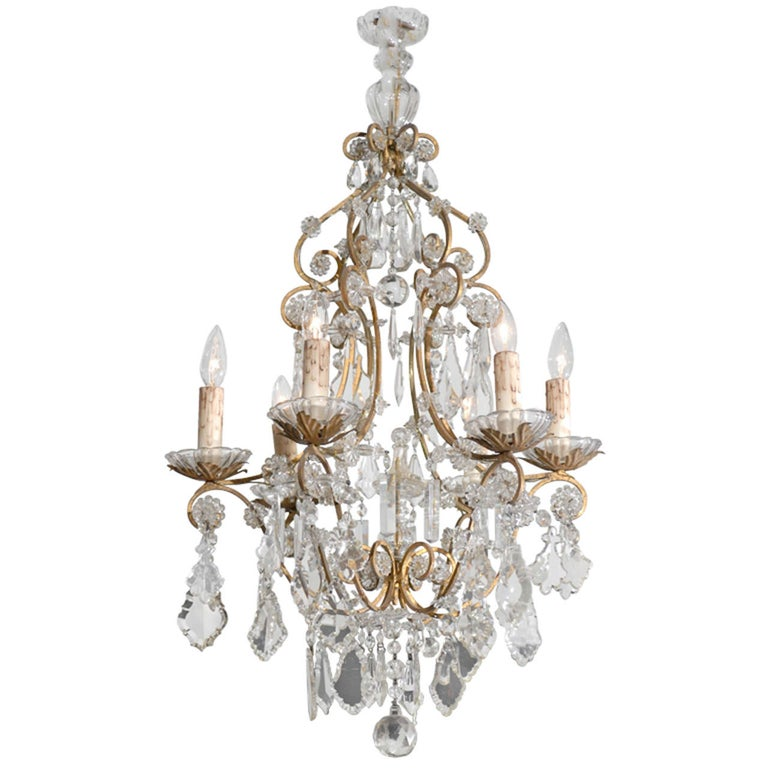 Italian Rococo Style 1890s Six-Light Crystal Chandelier with Gilt Metal Armature For Sale