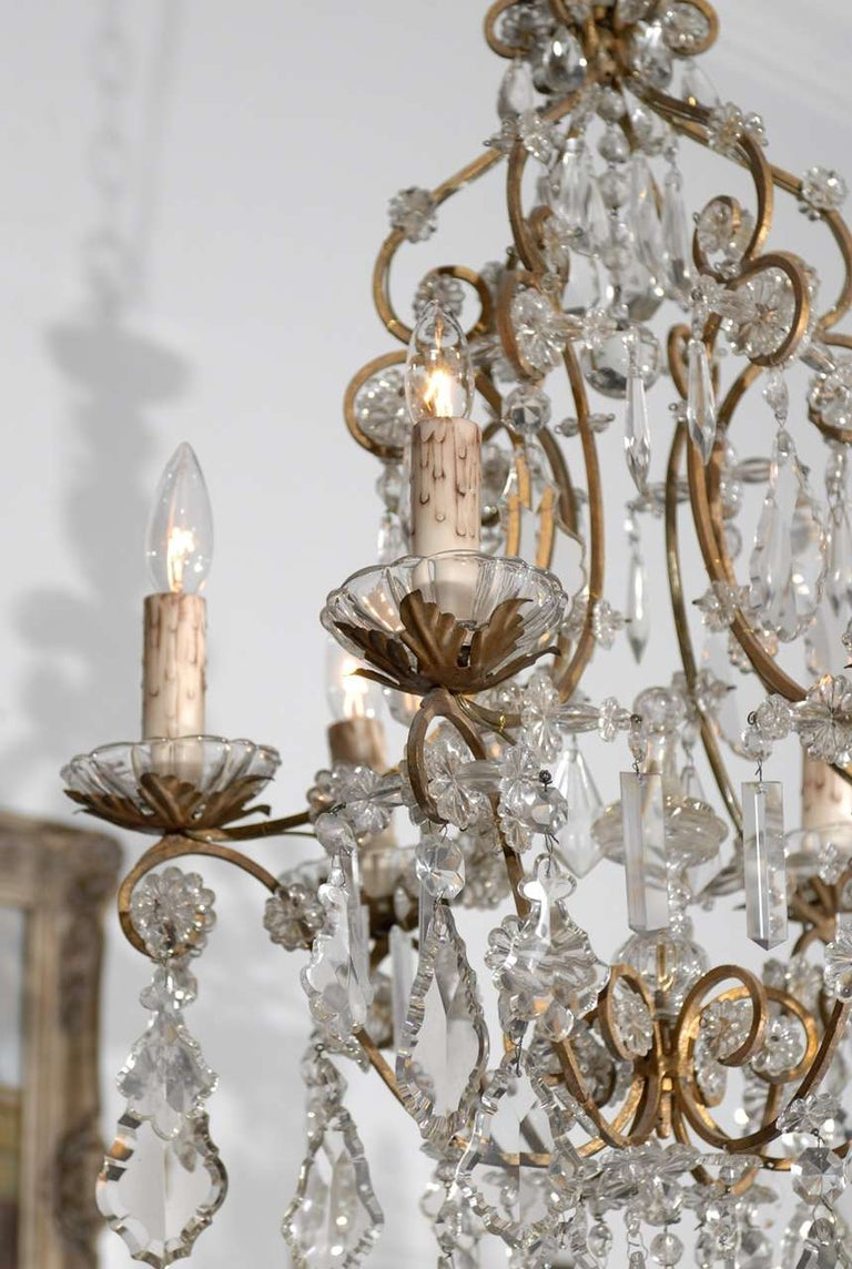 Italian Rococo Style 1890s Six-Light Crystal Chandelier with Gilt Metal Armature In Good Condition For Sale In Atlanta, GA