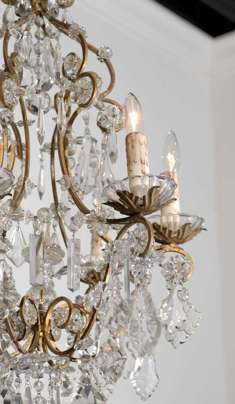 19th Century Italian Rococo Style 1890s Six-Light Crystal Chandelier with Gilt Metal Armature For Sale