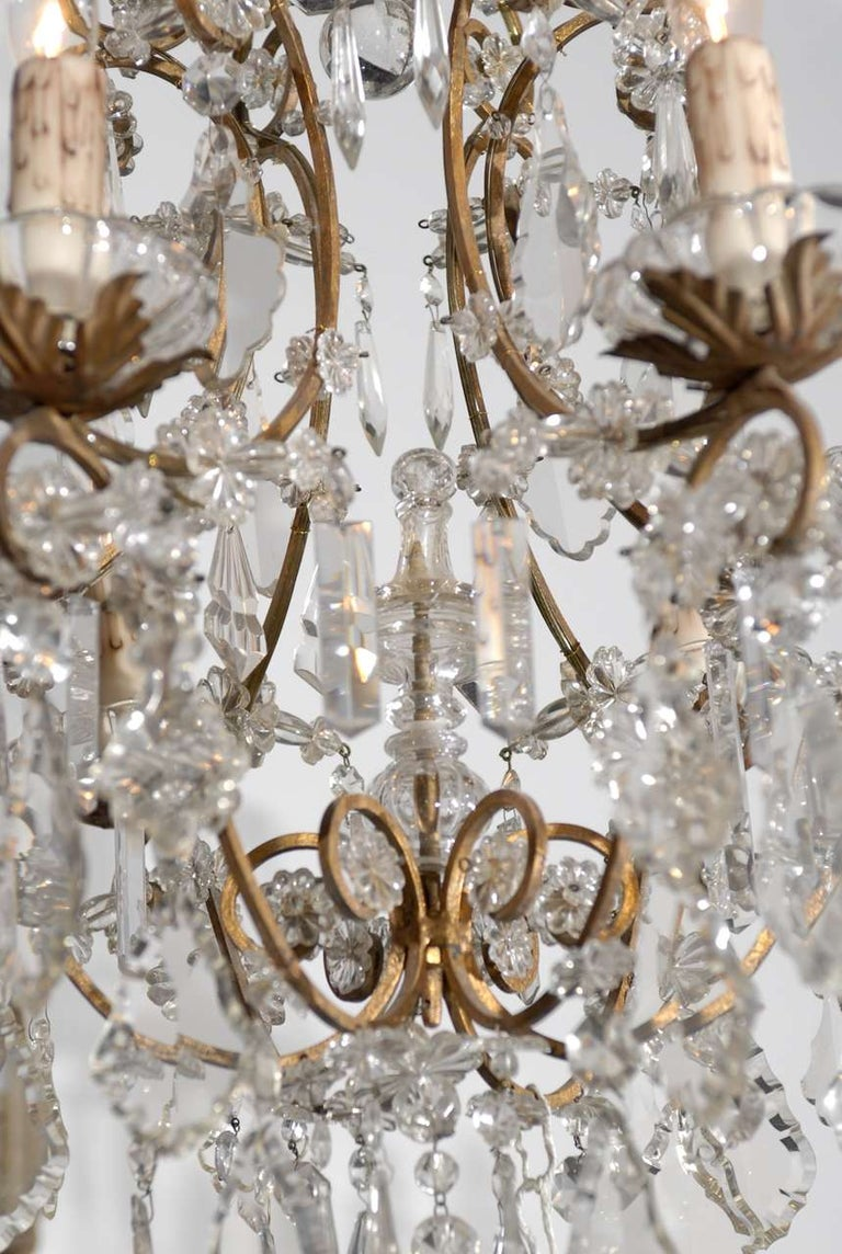 Italian Rococo Style 1890s Six-Light Crystal Chandelier with Gilt Metal Armature For Sale 2