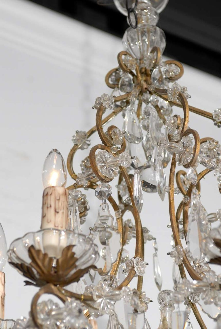Italian Rococo Style 1890s Six-Light Crystal Chandelier with Gilt Metal Armature For Sale 3
