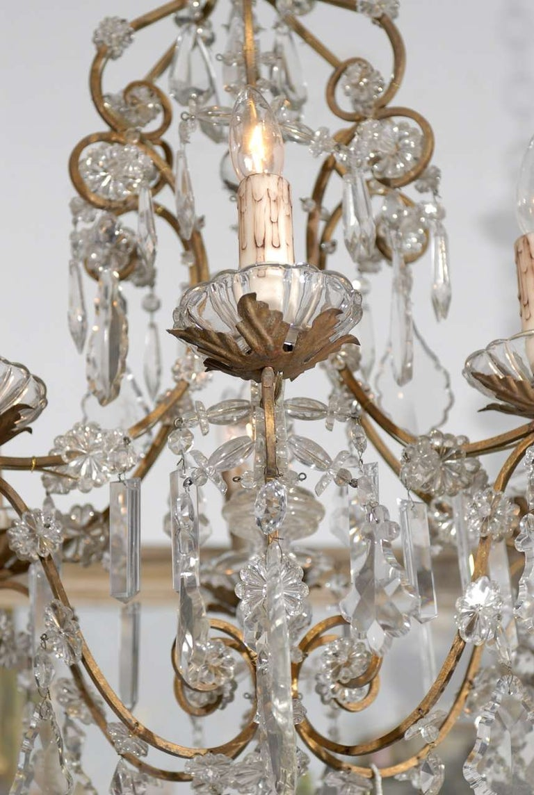 Italian Rococo Style 1890s Six-Light Crystal Chandelier with Gilt Metal Armature For Sale 4