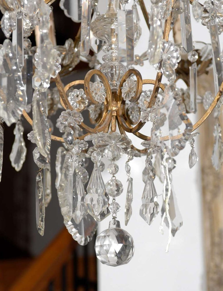 Italian Rococo Style 1890s Six-Light Crystal Chandelier with Gilt Metal Armature For Sale 5