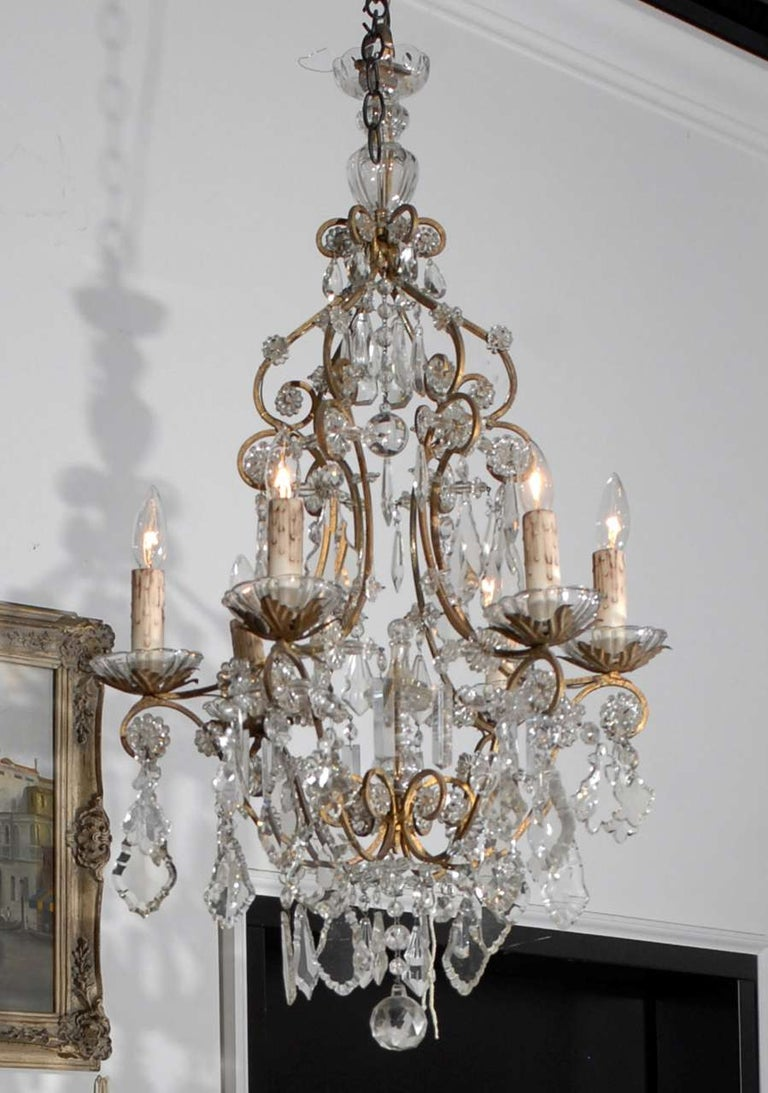 Italian Rococo Style 1890s Six-Light Crystal Chandelier with Gilt Metal Armature For Sale 6