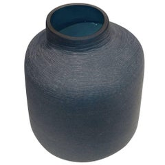 Etched Turquoise Glass Vase, Romania, Contemporary