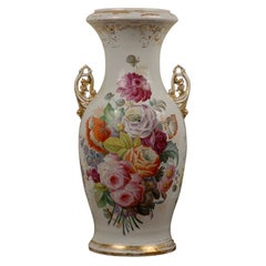 French Napoleon III 19th Century Hand-Painted Porcelain Vase with Floral Décor