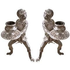Ein Paar Amerikanischer Tiffany Sterlingsilber Affen Kerzenhalter