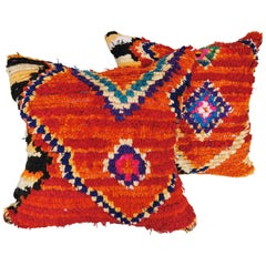 Custom Moroccan Pillow Cut from a Vintage Hand Loomed Wool Boujad Rug