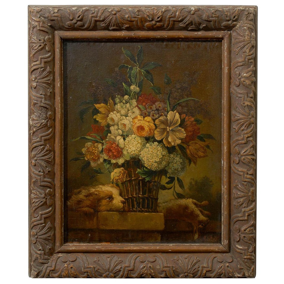 French 19th Century Framed Still-life Floral Painting with Dog and Rabbit Motifs