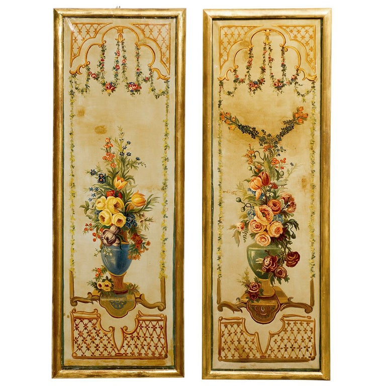 French Napoleon III Period Painted Decorative Panels with Bouquets, circa 1860 For Sale
