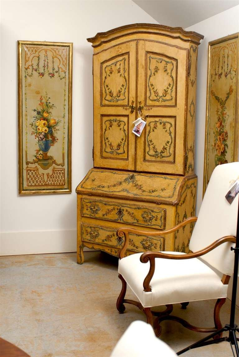 French Napoleon III Period Painted Decorative Panels with Bouquets, circa 1860 In Good Condition For Sale In Atlanta, GA