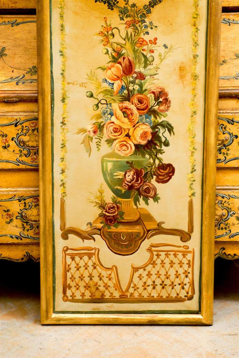 19th Century French Napoleon III Period Painted Decorative Panels with Bouquets, circa 1860 For Sale