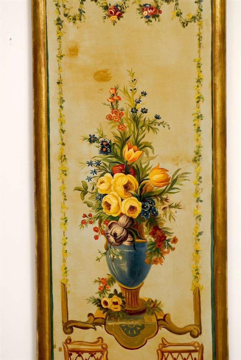 Canvas French Napoleon III Period Painted Decorative Panels with Bouquets, circa 1860 For Sale