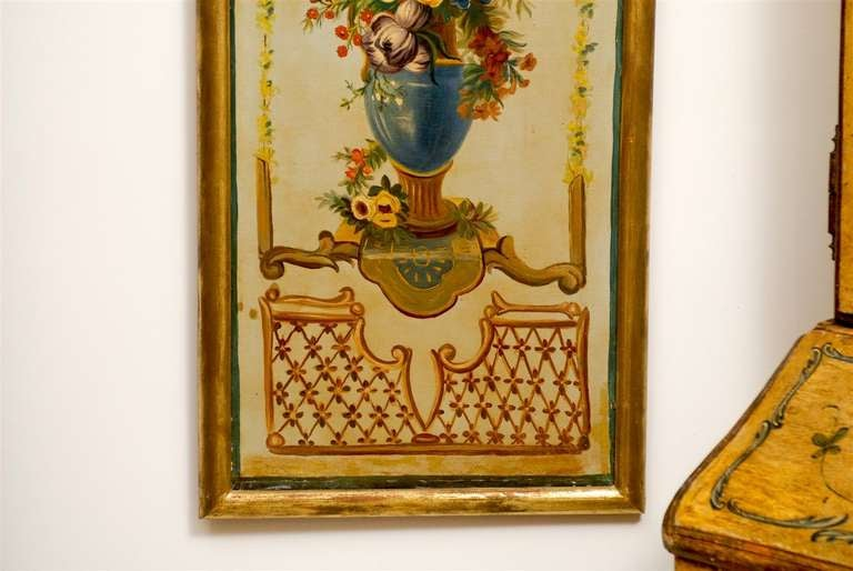 French Napoleon III Period Painted Decorative Panels with Bouquets, circa 1860 For Sale 1