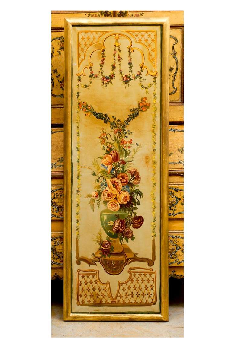French Napoleon III Period Painted Decorative Panels with Bouquets, circa 1860 For Sale 2
