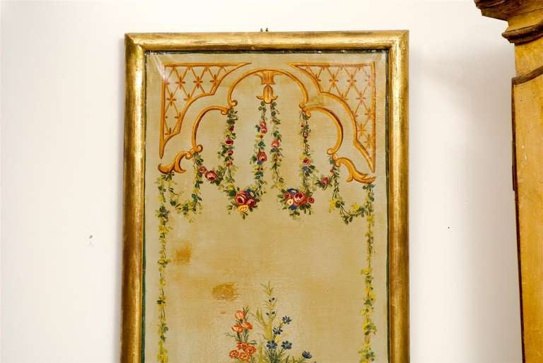 French Napoleon III Period Painted Decorative Panels with Bouquets, circa 1860 For Sale 3