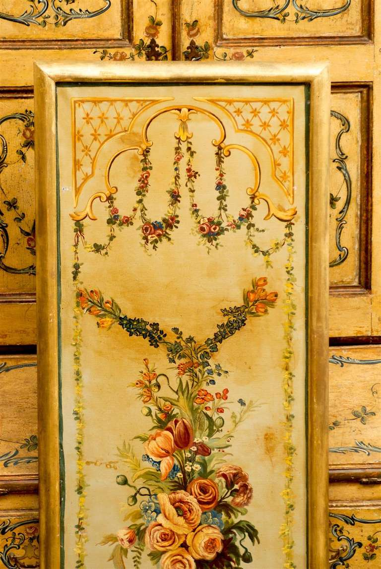 French Napoleon III Period Painted Decorative Panels with Bouquets, circa 1860 For Sale 4