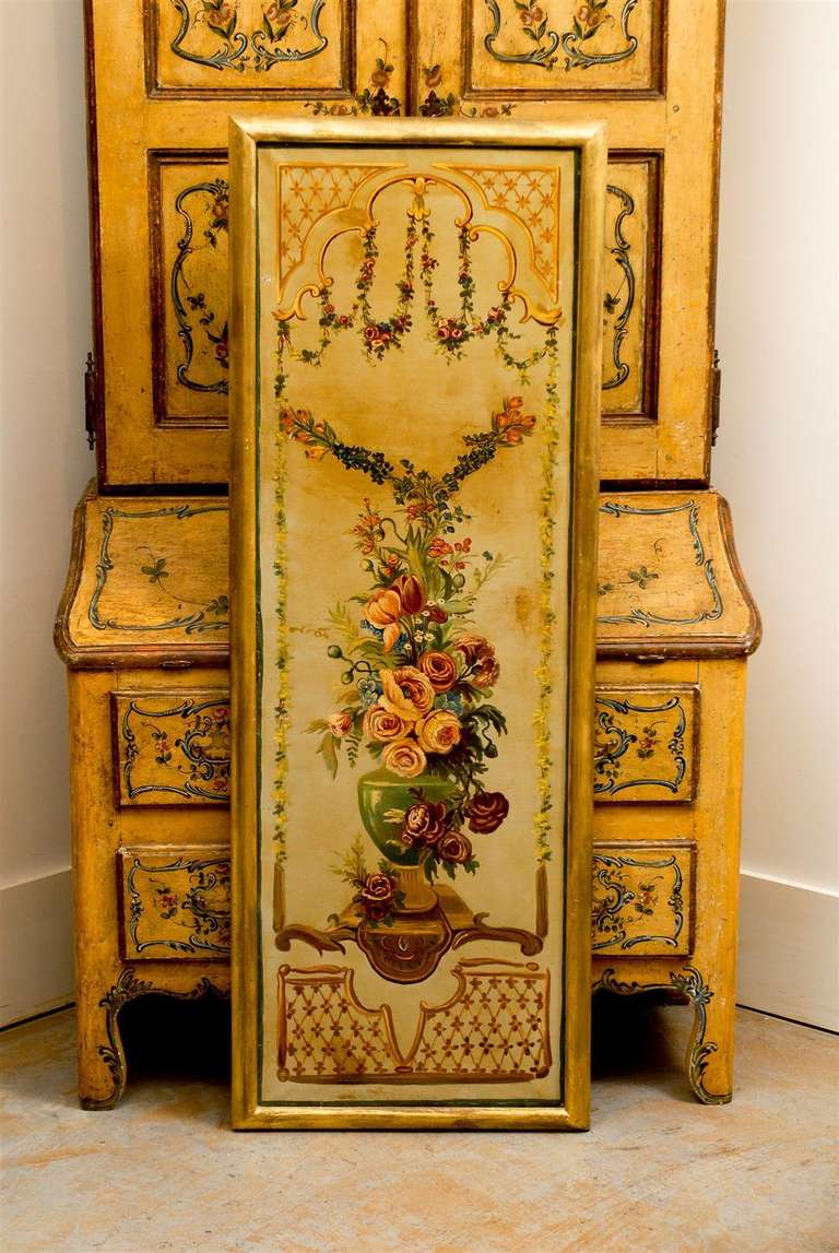French Napoleon III Period Painted Decorative Panels with Bouquets, circa 1860 For Sale 5