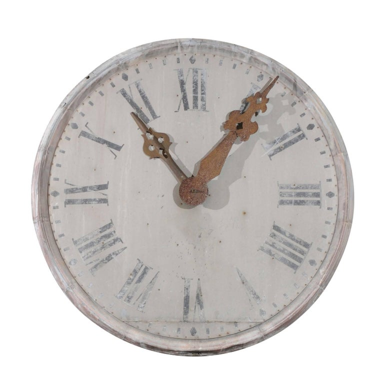 Large French 1880s Zinc Decorative Clock Face With Roman