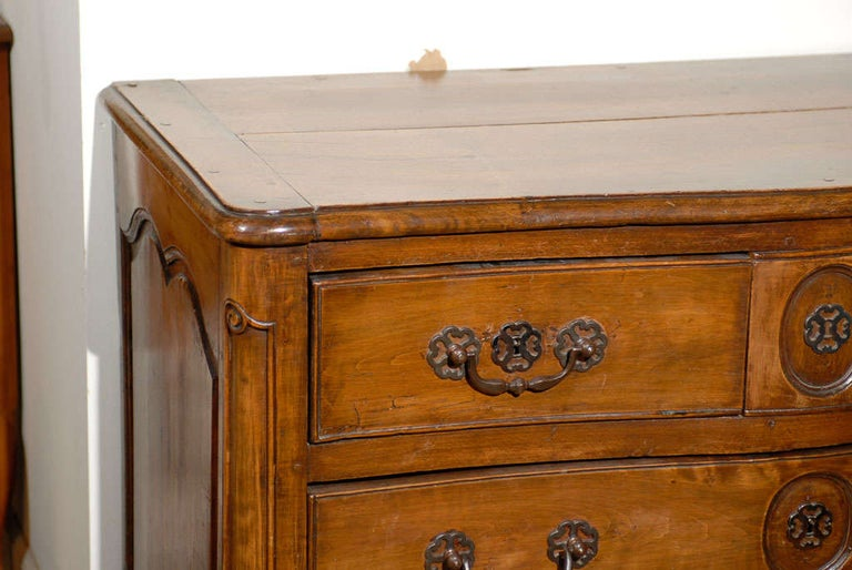 18th Century and Earlier French Louis XV Period 18th Century Walnut Four-Drawer Commode with Star Motif