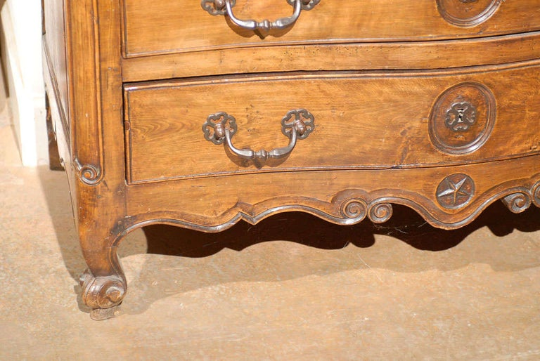 French Louis XV Period 18th Century Walnut Four-Drawer Commode with Star Motif 1