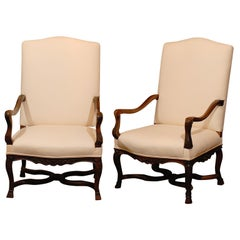 Pair of French 1850s Upholstered Régence Style Armchairs with Cross Stretcher
