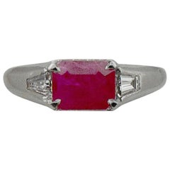 Burma Ruby and Diamond Ring in Platinum, circa 1940s