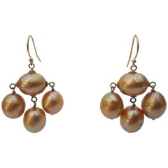 Marina J. Baroque golden color Dangle Pearl Earrings with 14 k gold hook