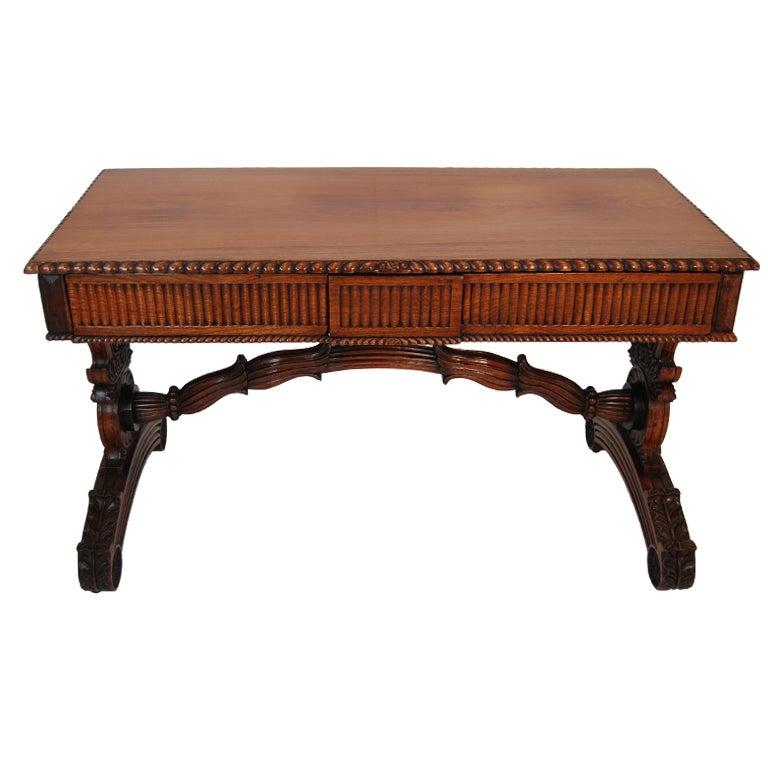 Anglo Indian Padauk Wood Writing Table At 1stdibs