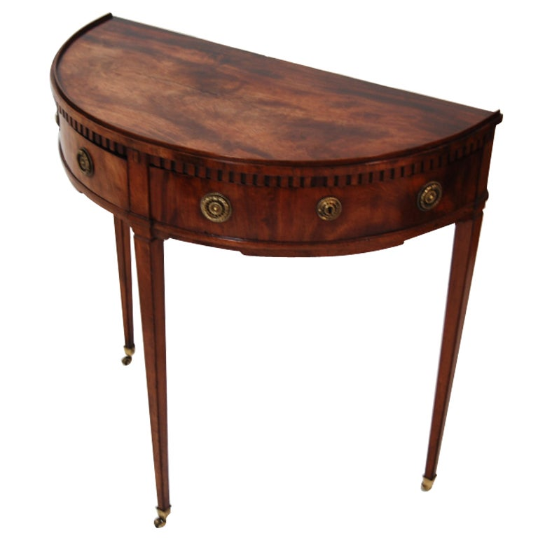 Petite demilune side table with 2 drawers at 1stdibs for Demilune console table with drawers