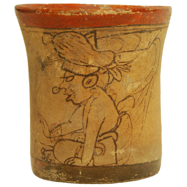 Pre Columbian Mayan Pottery Codex Style Cylinder Vase At