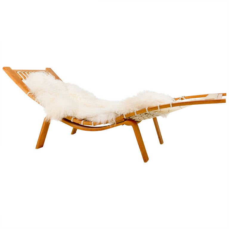 rare hans wegner hammock chaise longue for getama at 1stdibs. Black Bedroom Furniture Sets. Home Design Ideas