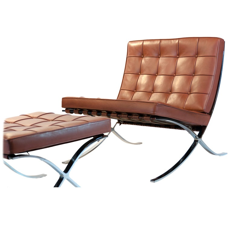 knoll barcelona chair and ottoman mies van der rohe at 1stdibs. Black Bedroom Furniture Sets. Home Design Ideas