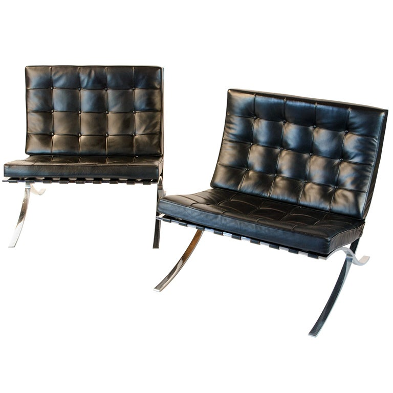 vintage knoll barcelona chairs by mies van der rohe at 1stdibs