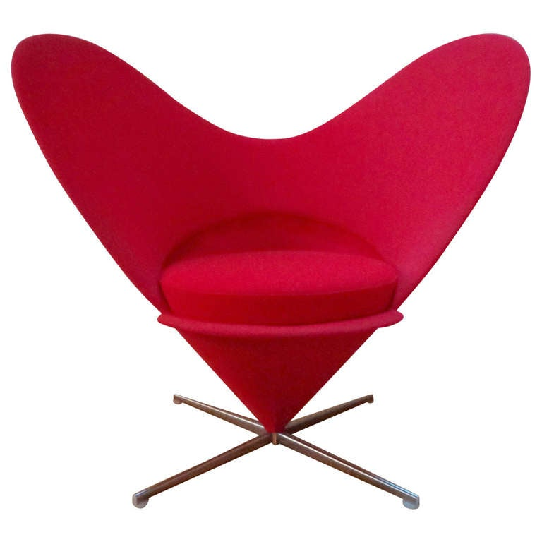 heart cone chair by verner panton denmark at 1stdibs. Black Bedroom Furniture Sets. Home Design Ideas