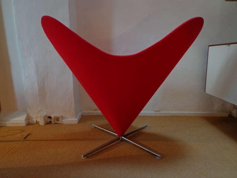 Scandinavian Modern Heart Cone Chair by Verner Panton, Denmark For Sale
