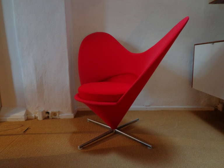 Danish Heart Cone Chair by Verner Panton, Denmark For Sale