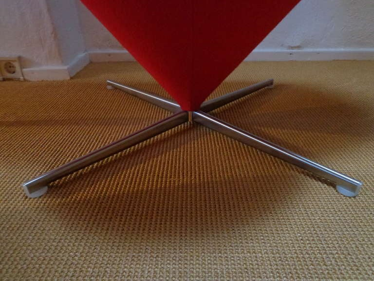 Stainless Steel Heart Cone Chair by Verner Panton, Denmark For Sale