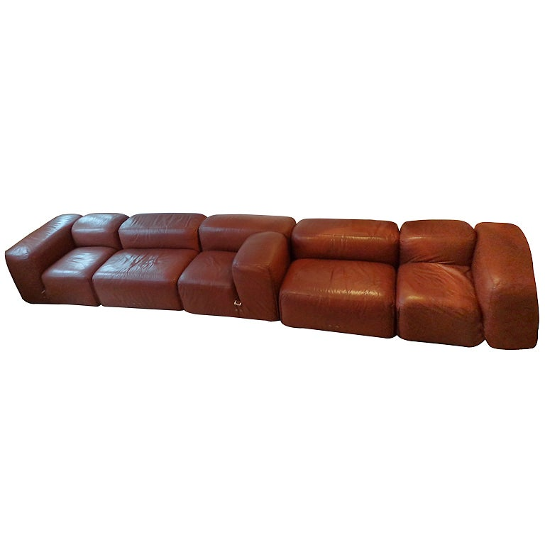 Modern leather sectional sofas - De Sede Sofa In 5 Brown Leather Elements At 1stdibs