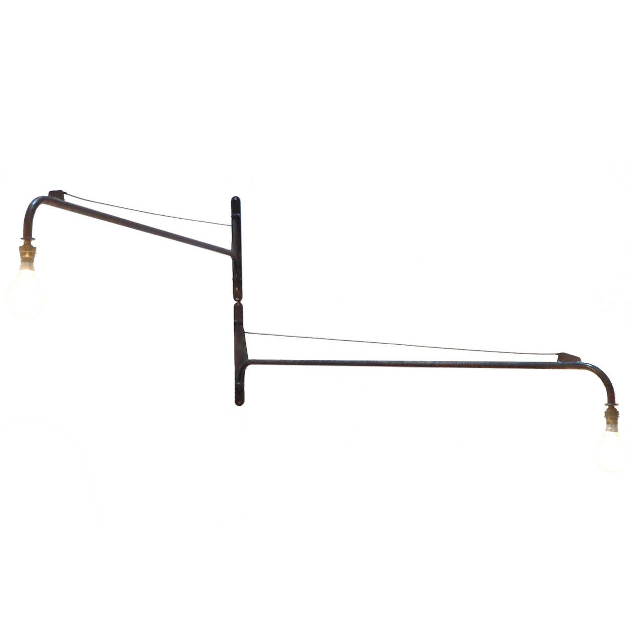 Jean Prouvé Style Swing Jib Lamp For Sale